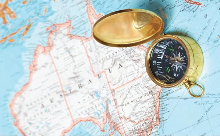 Map of Australia with compass