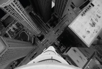 looking down from buildings